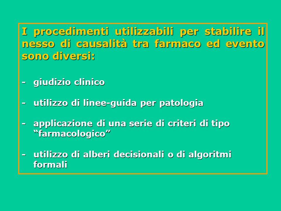 I procedimenti utilizzabili per stabilire il nesso di causalità tra farmaco ed evento sono diversi: -giudizio clinico -utilizzo di linee-guida per pat