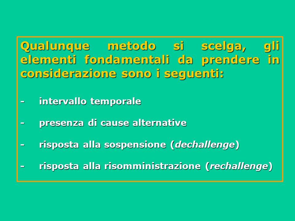 Qualunque metodo si scelga, gli elementi fondamentali da prendere in considerazione sono i seguenti: -intervallo temporale -presenza di cause alternat