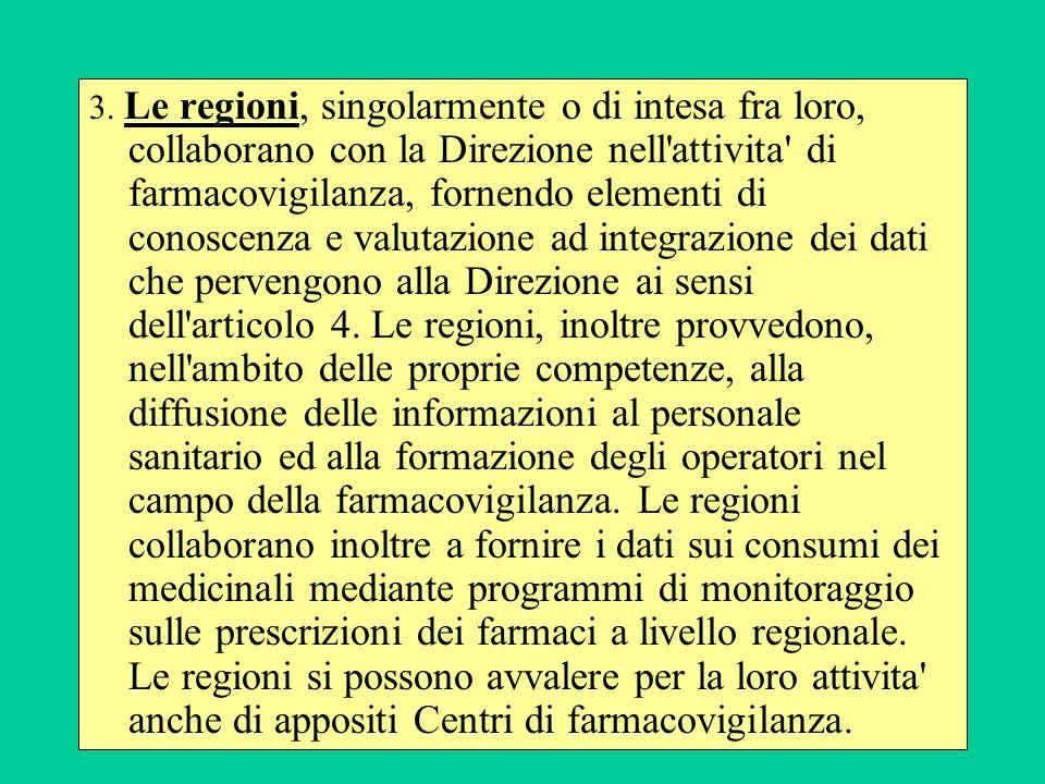 3. Le regioni, singolarmente o di intesa fra loro, collaborano con la Direzione nell'attivita' di farmacovigilanza, fornendo elementi di conoscenza e