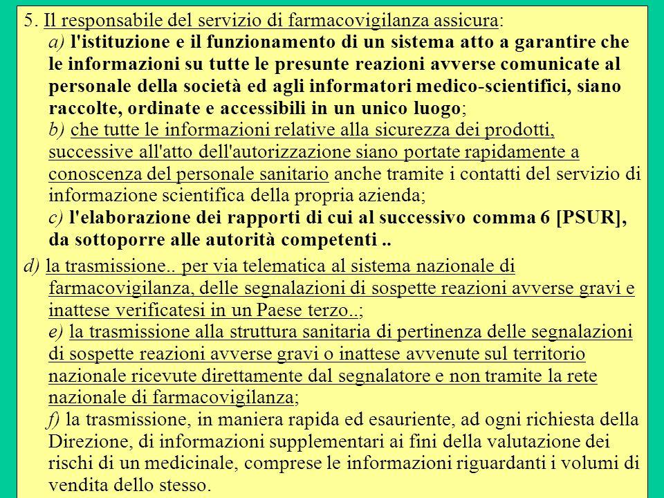 5. Il responsabile del servizio di farmacovigilanza assicura: a) l'istituzione e il funzionamento di un sistema atto a garantire che le informazioni s