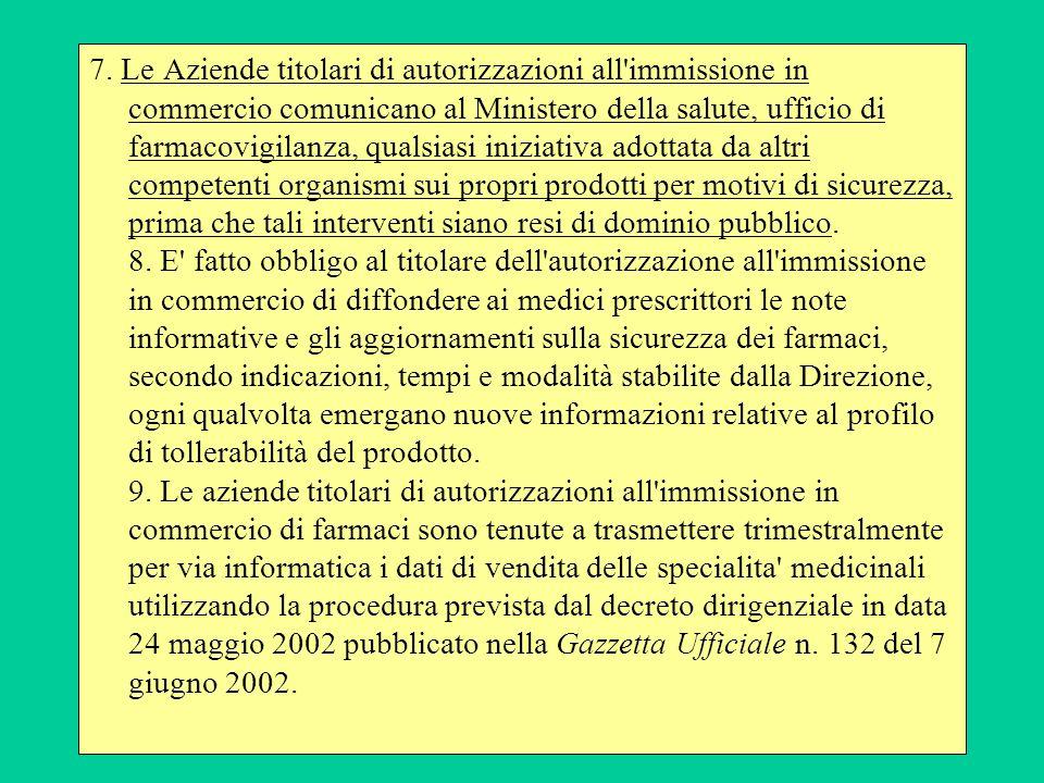 7. Le Aziende titolari di autorizzazioni all'immissione in commercio comunicano al Ministero della salute, ufficio di farmacovigilanza, qualsiasi iniz