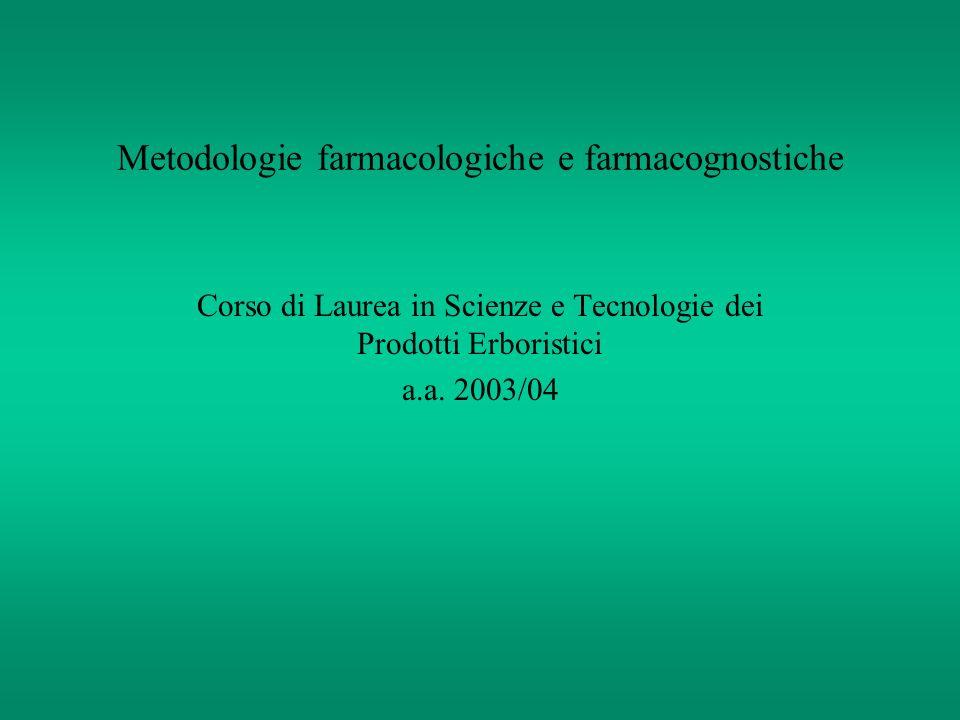 Metodologie farmacologiche e farmacognostiche Corso di Laurea in Scienze e Tecnologie dei Prodotti Erboristici a.a. 2003/04