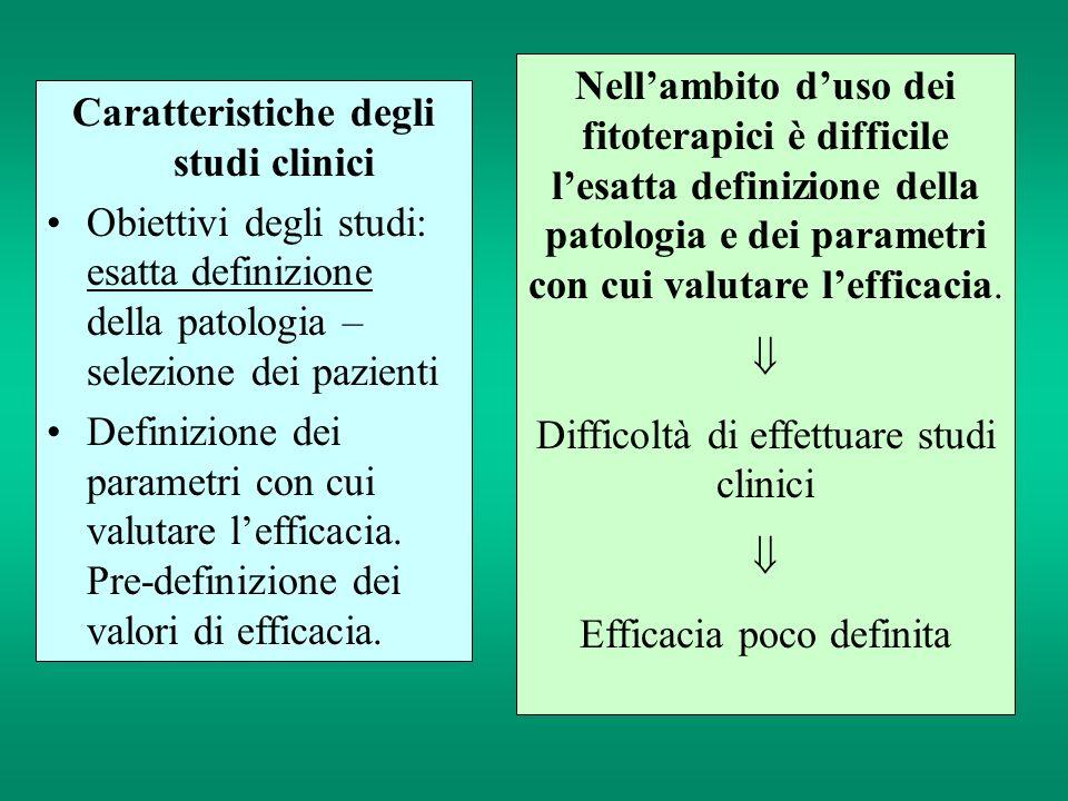 Caratteristiche degli studi clinici Obiettivi degli studi: esatta definizione della patologia – selezione dei pazienti Definizione dei parametri con c