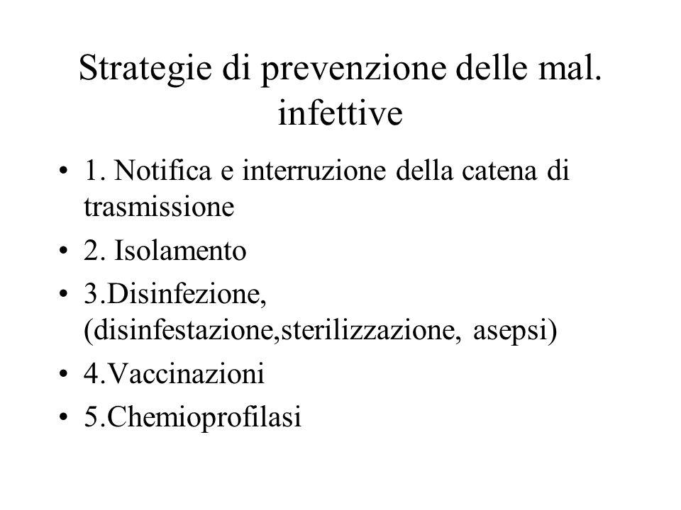 Strategie di prevenzione delle mal. infettive 1. Notifica e interruzione della catena di trasmissione 2. Isolamento 3.Disinfezione, (disinfestazione,s