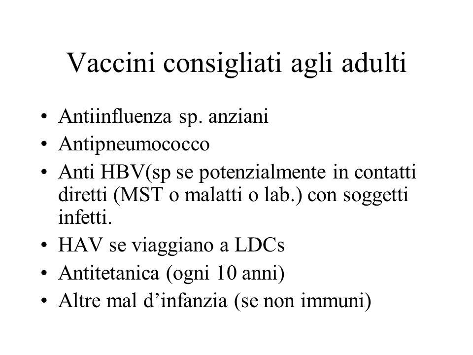 Vaccini consigliati agli adulti Antiinfluenza sp. anziani Antipneumococco Anti HBV(sp se potenzialmente in contatti diretti (MST o malatti o lab.) con