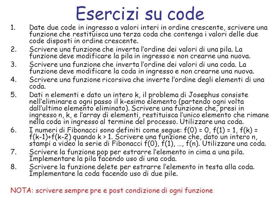 Definizione di coda struct nodo_coda { tipo_elemento el; struct nodo_coda *next; }; struct coda { struct nodo_coda *head; struct nodo_coda *tail; int size; }; dove tipo_elemento codifica il tipo di ogni elemento della pila.