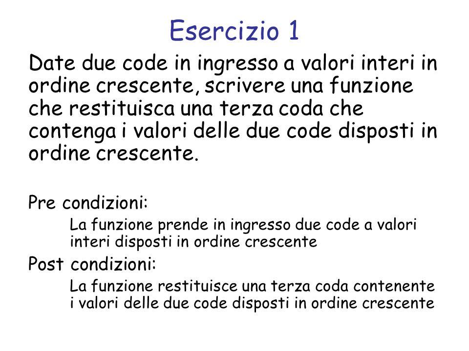 Svolgimento coda *unisci_code(coda *c1, coda *c2) { /* coda unione */ struct coda *c = crea_coda(); while(!coda_vuota(c1) && !coda_vuota(c2)) { if (front(c1) <= front(c2)) add(c, remove(c1)); else add(c, remove(c2)); } while(!coda_vuota(c1)) add(c, remove(c1)); while(!coda_vuota(c2)) add(c, remove(c2)); return c; }
