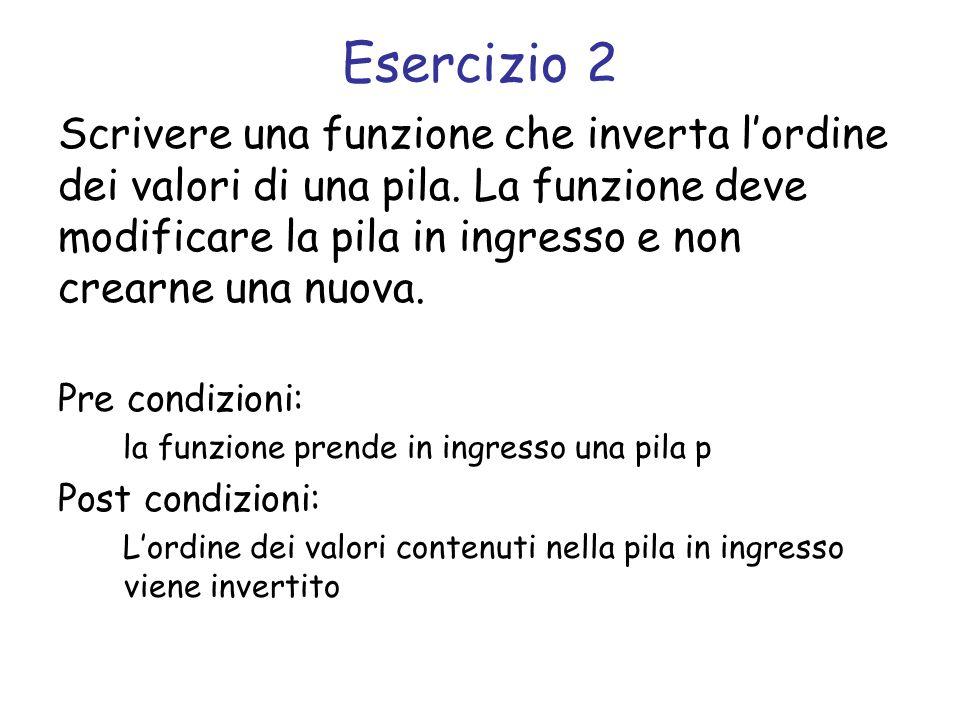 Svolgimento void inverti_pila(struct pila *p) { /* coda */ struct coda *c = crea_coda(); while(!pila_vuota(p)) { tipo_elemento e = pop(p); add(c, e); } while(!coda_vuota(c)) { tipo_elemento e = remove(c); push(p, e); }