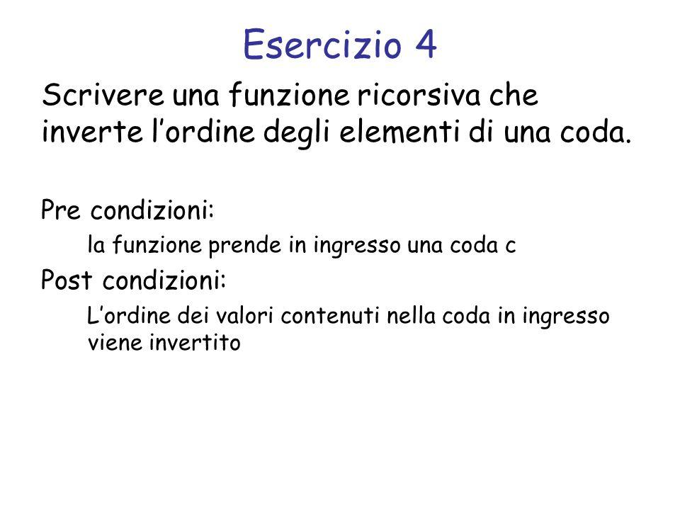 Svolgimento void inverti_coda(struct coda *c) { tipo_elemento e; /* caso base: coda vuota */ if (coda_vuota(c)) return; /* elimina la testa della coda */ e = remove(c); /* chiamata ricorsiva */ inverti_coda(c); /* aggiunge lelemento in coda */ add(c, e); }