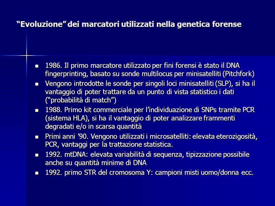 Evoluzione dei marcatori utilizzati nella genetica forense 1986. Il primo marcatore utilizzato per fini forensi è stato il DNA fingerprinting, basato