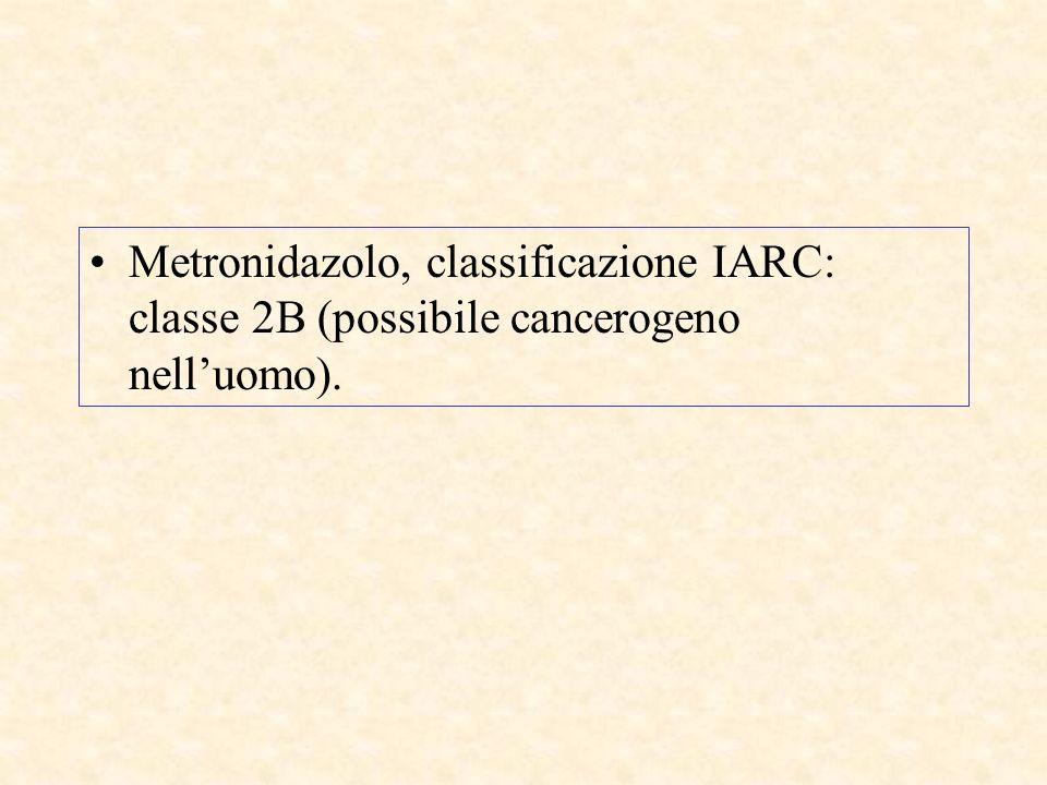 Metronidazolo, classificazione IARC: classe 2B (possibile cancerogeno nelluomo).