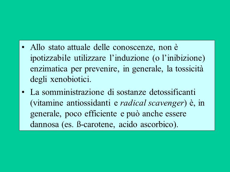 Allo stato attuale delle conoscenze, non è ipotizzabile utilizzare linduzione (o linibizione) enzimatica per prevenire, in generale, la tossicità degl