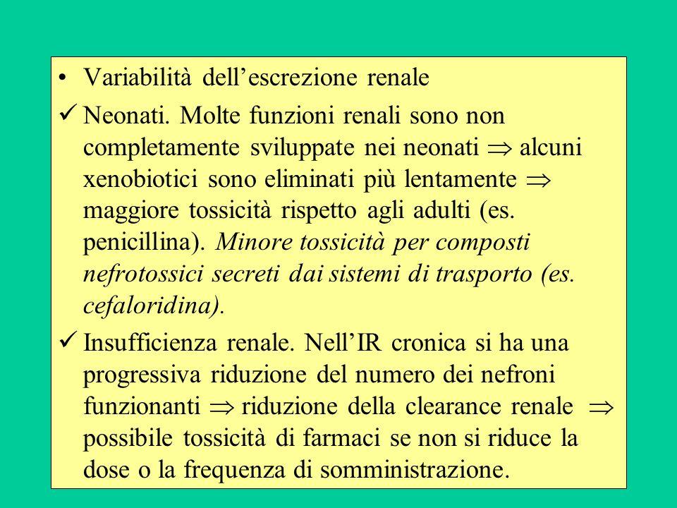 Variabilità dellescrezione renale Neonati. Molte funzioni renali sono non completamente sviluppate nei neonati alcuni xenobiotici sono eliminati più l