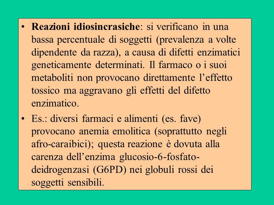 Reazioni idiosincrasiche: si verificano in una bassa percentuale di soggetti (prevalenza a volte dipendente da razza), a causa di difetti enzimatici g
