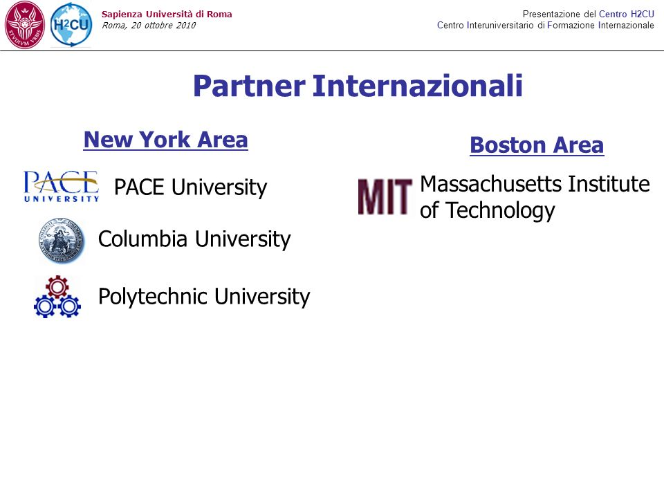 Partner Internazionali New York Area Boston Area Massachusetts Institute of Technology PACE University Columbia University Polytechnic University Presentazione del Centro H2CU Centro Interuniversitario di Formazione Internazionale Sapienza Università di Roma Roma, 20 ottobre 2010