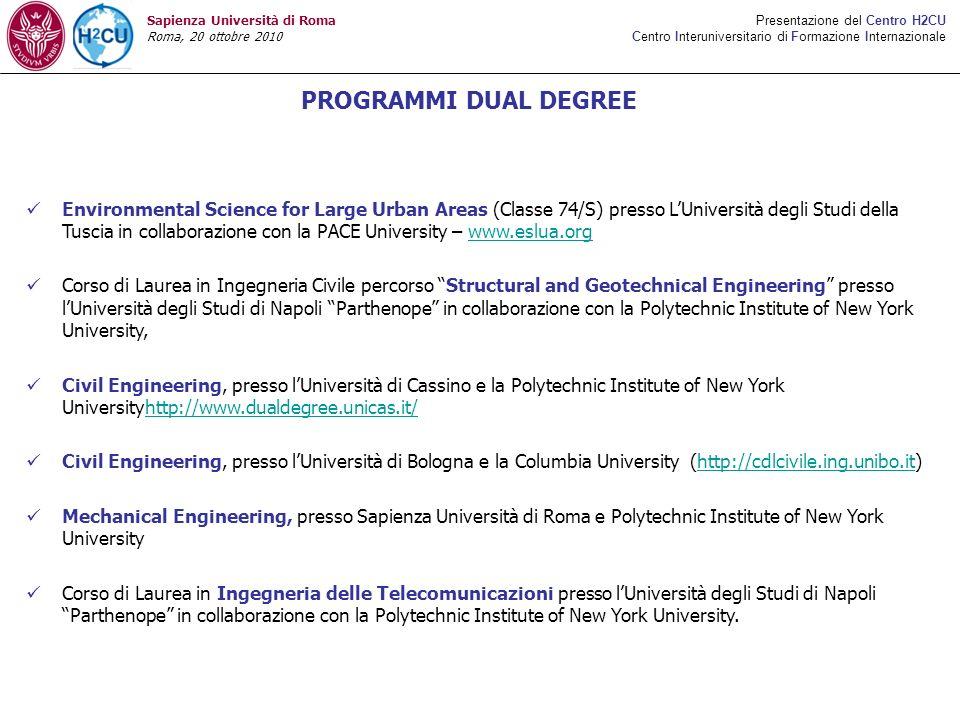 PROGRAMMI DUAL DEGREE Presentazione del Centro H2CU Centro Interuniversitario di Formazione Internazionale Sapienza Università di Roma Roma, 20 ottobr