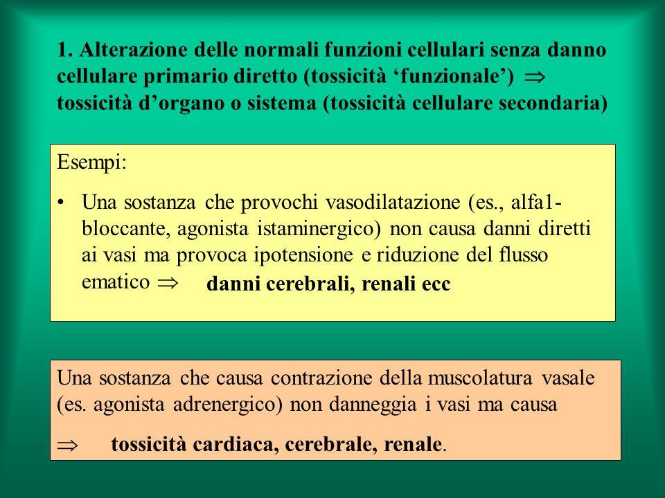1. Alterazione delle normali funzioni cellulari senza danno cellulare primario diretto (tossicità funzionale) tossicità dorgano o sistema (tossicità c