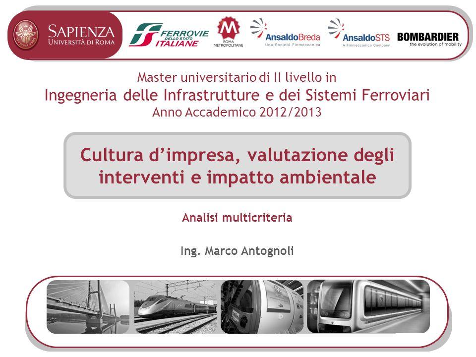 Master universitario di II livello in Ingegneria delle Infrastrutture e dei Sistemi Ferroviari Anno Accademico 2012/2013 Cultura dimpresa, valutazione