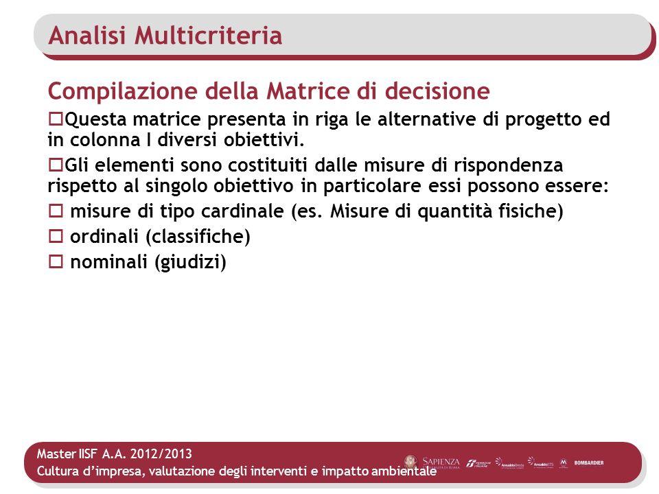 Master IISF A.A. 2012/2013 Cultura dimpresa, valutazione degli interventi e impatto ambientale Analisi Multicriteria Compilazione della Matrice di dec