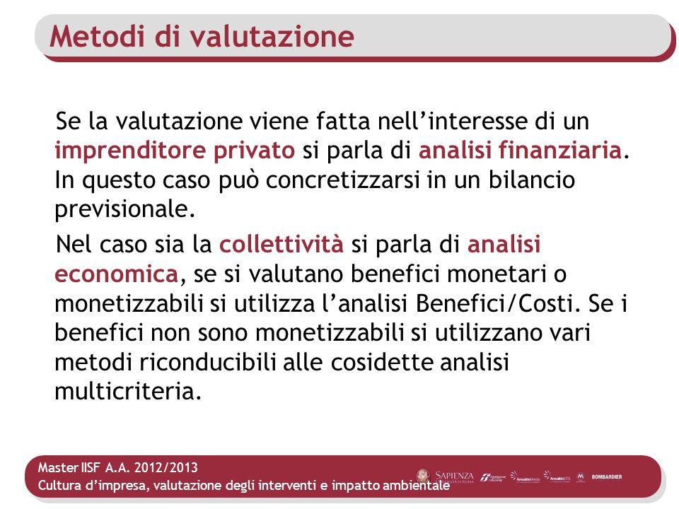 Master IISF A.A. 2012/2013 Cultura dimpresa, valutazione degli interventi e impatto ambientale Metodi di valutazione Se la valutazione viene fatta nel