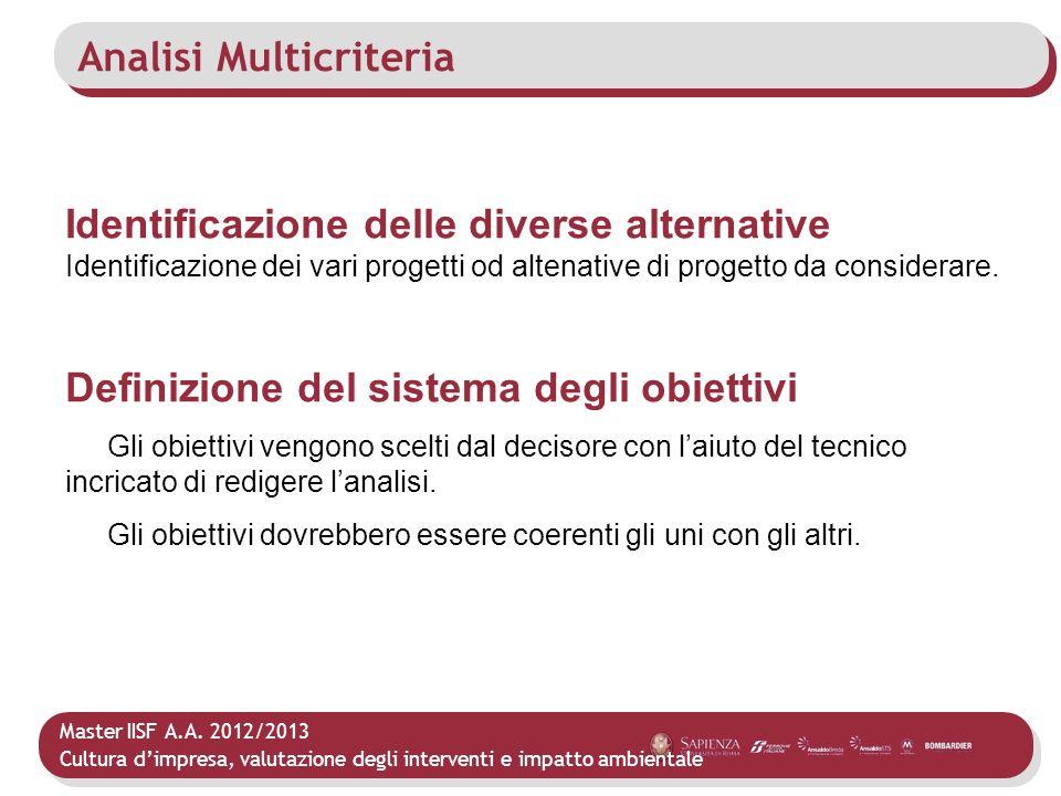 Master IISF A.A. 2012/2013 Cultura dimpresa, valutazione degli interventi e impatto ambientale Analisi Multicriteria Identificazione delle diverse alt