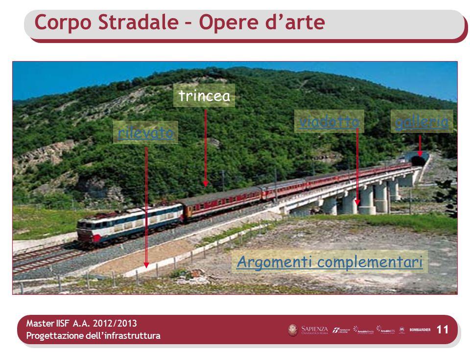 Master IISF A.A. 2012/2013 Progettazione dellinfrastruttura 11 Corpo Stradale – Opere darte rilevato viadottogalleria trincea Argomenti complementari