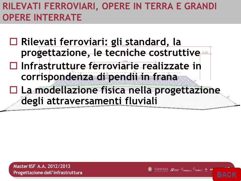 Master IISF A.A. 2012/2013 Progettazione dellinfrastruttura 13 RILEVATI FERROVIARI, OPERE IN TERRA E GRANDI OPERE INTERRATE Rilevati ferroviari: gli s