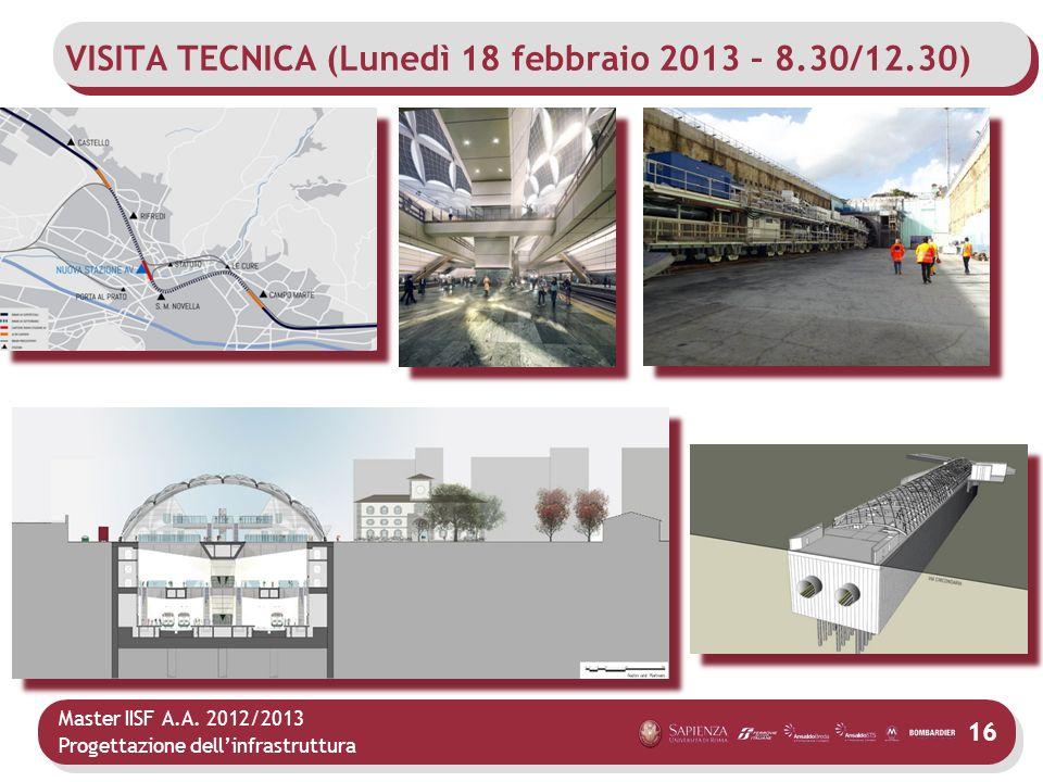 Master IISF A.A. 2012/2013 Progettazione dellinfrastruttura 16 VISITA TECNICA (Lunedì 18 febbraio 2013 – 8.30/12.30)