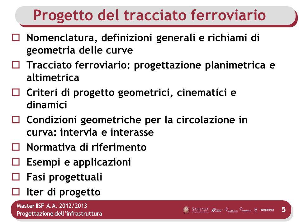 Master IISF A.A. 2012/2013 Progettazione dellinfrastruttura 5 Progetto del tracciato ferroviario Nomenclatura, definizioni generali e richiami di geom