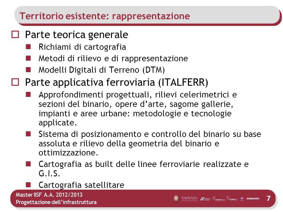 Master IISF A.A. 2012/2013 Progettazione dellinfrastruttura 7 Territorio esistente: rappresentazione Parte teorica generale Richiami di cartografia Me