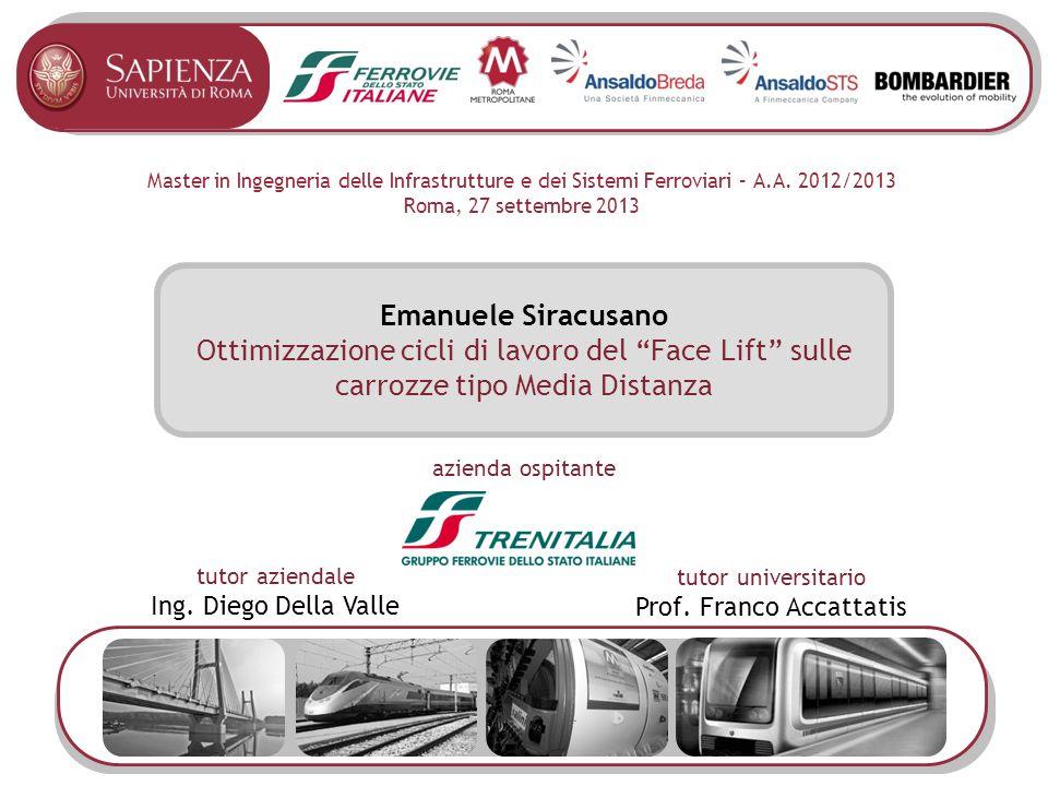 Master in Ingegneria delle Infrastrutture e dei Sistemi Ferroviari – A.A. 2012/2013 Roma, 27 settembre 2013 Emanuele Siracusano Ottimizzazione cicli d