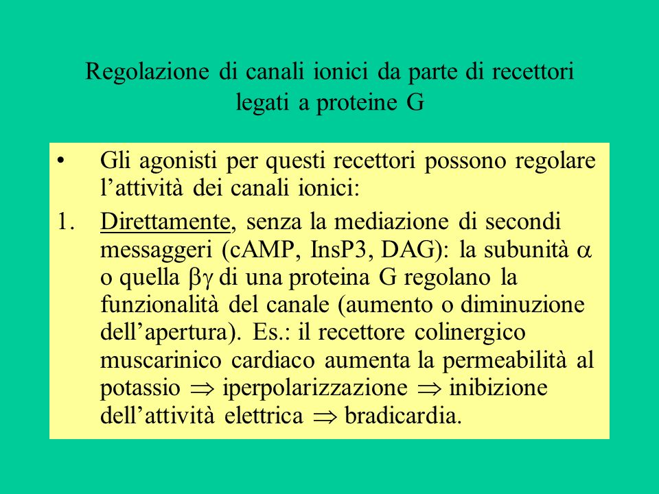 Regolazione di canali ionici da parte di recettori legati a proteine G Gli agonisti per questi recettori possono regolare lattività dei canali ionici: 1.Direttamente, senza la mediazione di secondi messaggeri (cAMP, InsP3, DAG): la subunità o quella di una proteina G regolano la funzionalità del canale (aumento o diminuzione dellapertura).