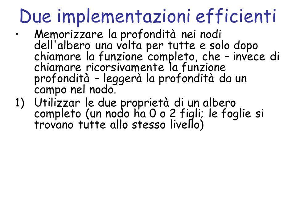 Due implementazioni efficienti Memorizzare la profondità nei nodi dell'albero una volta per tutte e solo dopo chiamare la funzione completo, che – inv