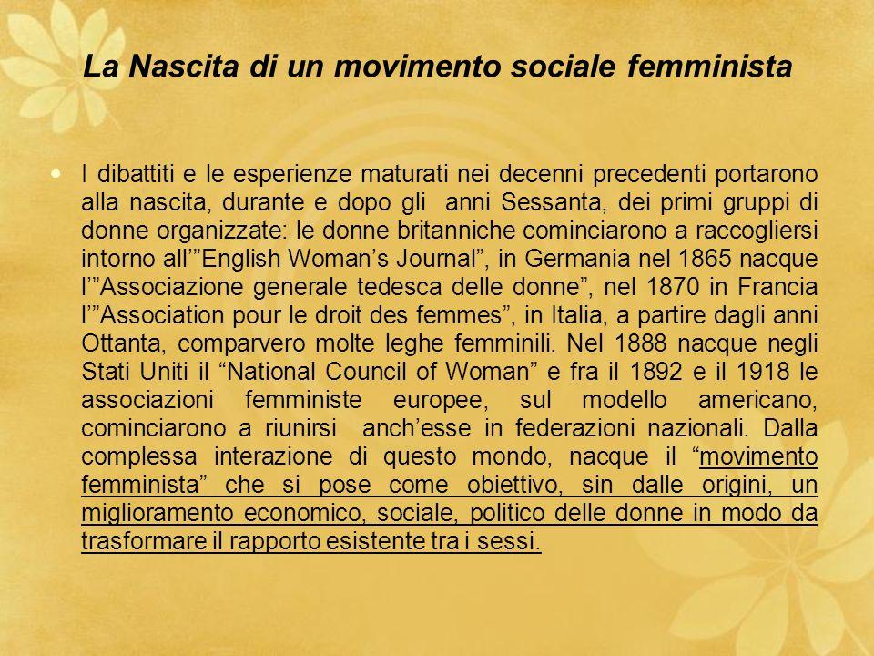 segue ll movimento non fu mai omogeneo: comune a tutti fu però il carattere sociale del movimento che concepiva la questione femminile come una questione sociale legata al più ampio problema del pauperismo.