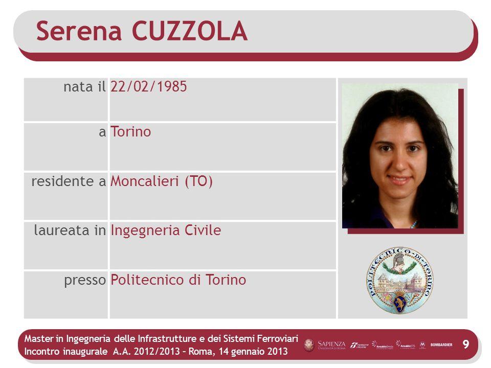 Master in Ingegneria delle Infrastrutture e dei Sistemi Ferroviari Incontro inaugurale A.A. 2012/2013 – Roma, 14 gennaio 2013 9 Serena CUZZOLA nata il