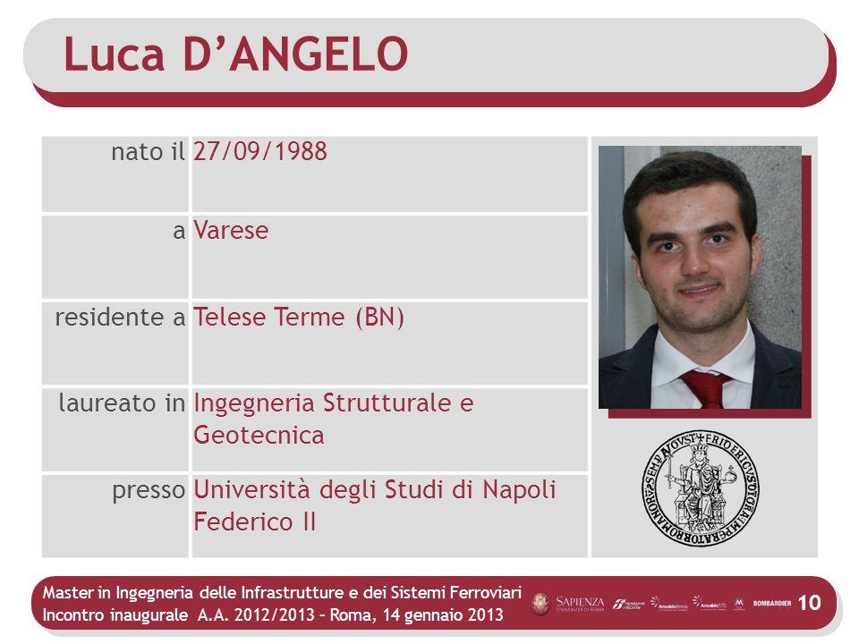 Master in Ingegneria delle Infrastrutture e dei Sistemi Ferroviari Incontro inaugurale A.A. 2012/2013 – Roma, 14 gennaio 2013 10 Luca DANGELO nato il2
