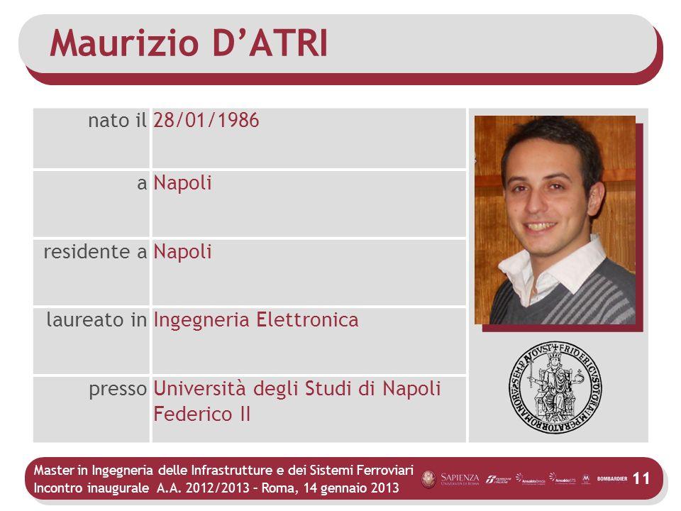 Master in Ingegneria delle Infrastrutture e dei Sistemi Ferroviari Incontro inaugurale A.A. 2012/2013 – Roma, 14 gennaio 2013 11 Maurizio DATRI nato i