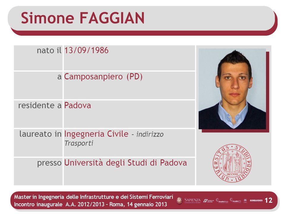 Master in Ingegneria delle Infrastrutture e dei Sistemi Ferroviari Incontro inaugurale A.A. 2012/2013 – Roma, 14 gennaio 2013 12 Simone FAGGIAN nato i