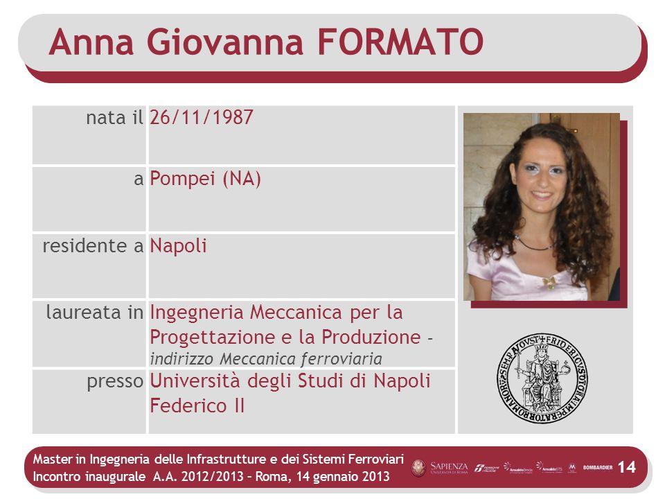 Master in Ingegneria delle Infrastrutture e dei Sistemi Ferroviari Incontro inaugurale A.A. 2012/2013 – Roma, 14 gennaio 2013 14 Anna Giovanna FORMATO