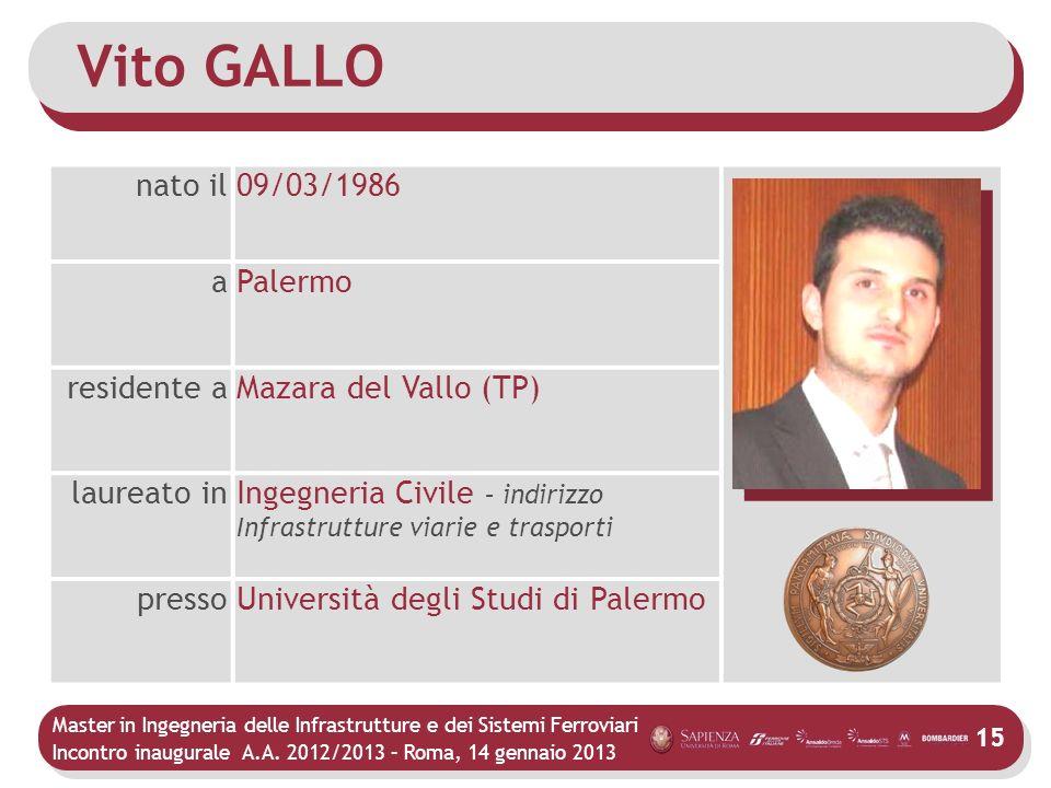Master in Ingegneria delle Infrastrutture e dei Sistemi Ferroviari Incontro inaugurale A.A. 2012/2013 – Roma, 14 gennaio 2013 15 Vito GALLO nato il09/