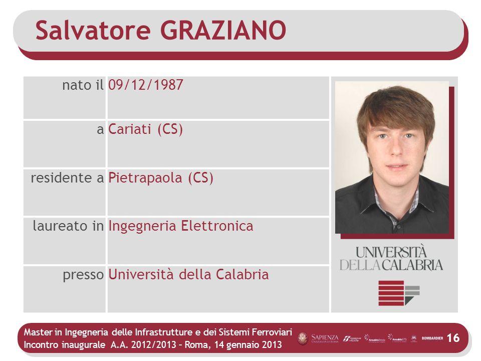 Master in Ingegneria delle Infrastrutture e dei Sistemi Ferroviari Incontro inaugurale A.A. 2012/2013 – Roma, 14 gennaio 2013 16 Salvatore GRAZIANO na