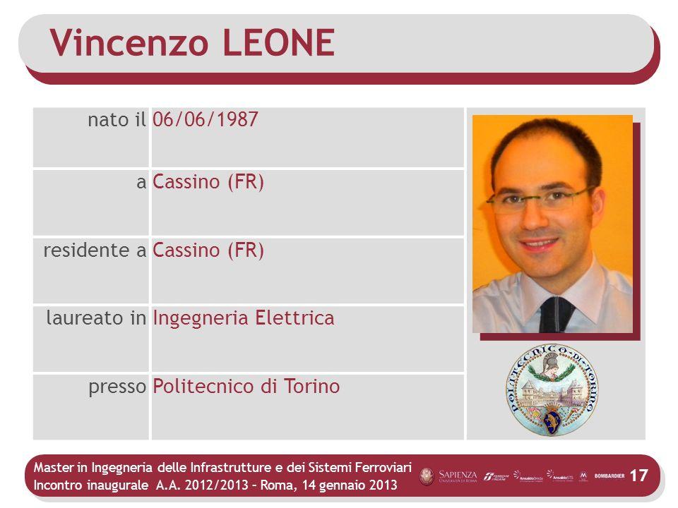 Master in Ingegneria delle Infrastrutture e dei Sistemi Ferroviari Incontro inaugurale A.A. 2012/2013 – Roma, 14 gennaio 2013 17 Vincenzo LEONE nato i