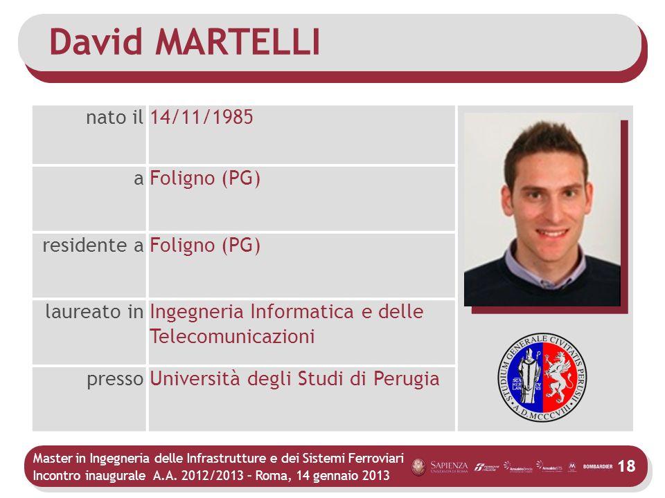 Master in Ingegneria delle Infrastrutture e dei Sistemi Ferroviari Incontro inaugurale A.A. 2012/2013 – Roma, 14 gennaio 2013 18 David MARTELLI nato i