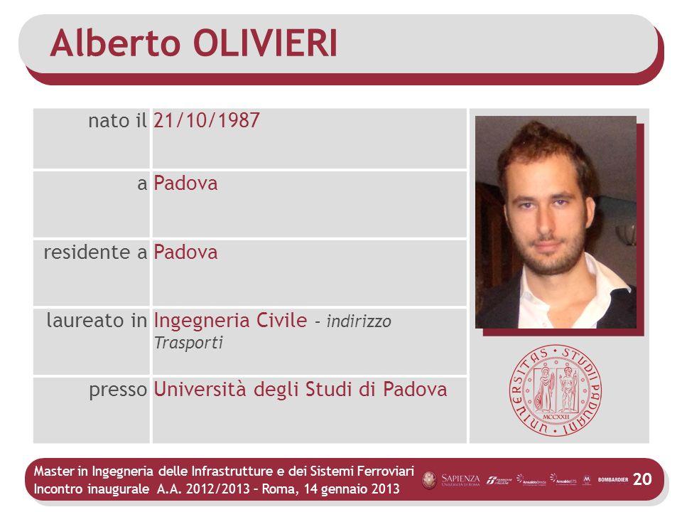 Master in Ingegneria delle Infrastrutture e dei Sistemi Ferroviari Incontro inaugurale A.A. 2012/2013 – Roma, 14 gennaio 2013 20 Alberto OLIVIERI nato