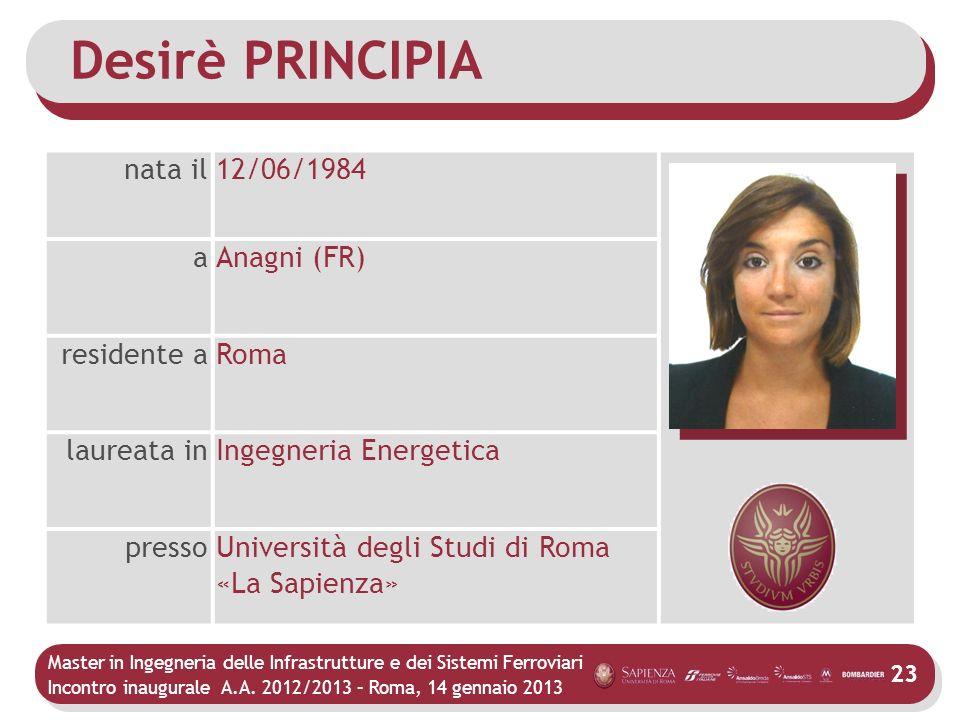 Master in Ingegneria delle Infrastrutture e dei Sistemi Ferroviari Incontro inaugurale A.A. 2012/2013 – Roma, 14 gennaio 2013 23 Desirè PRINCIPIA nata