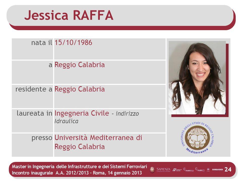 Master in Ingegneria delle Infrastrutture e dei Sistemi Ferroviari Incontro inaugurale A.A. 2012/2013 – Roma, 14 gennaio 2013 24 Jessica RAFFA nata il