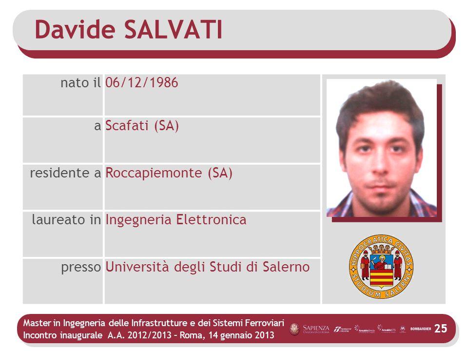 Master in Ingegneria delle Infrastrutture e dei Sistemi Ferroviari Incontro inaugurale A.A. 2012/2013 – Roma, 14 gennaio 2013 25 Davide SALVATI nato i