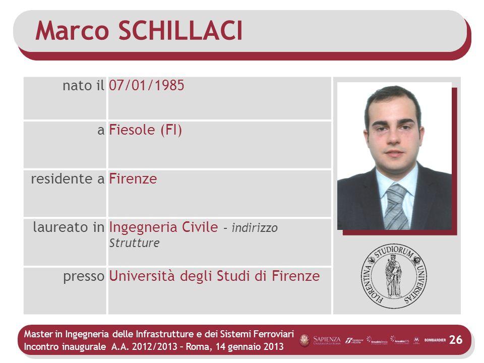 Master in Ingegneria delle Infrastrutture e dei Sistemi Ferroviari Incontro inaugurale A.A. 2012/2013 – Roma, 14 gennaio 2013 26 Marco SCHILLACI nato
