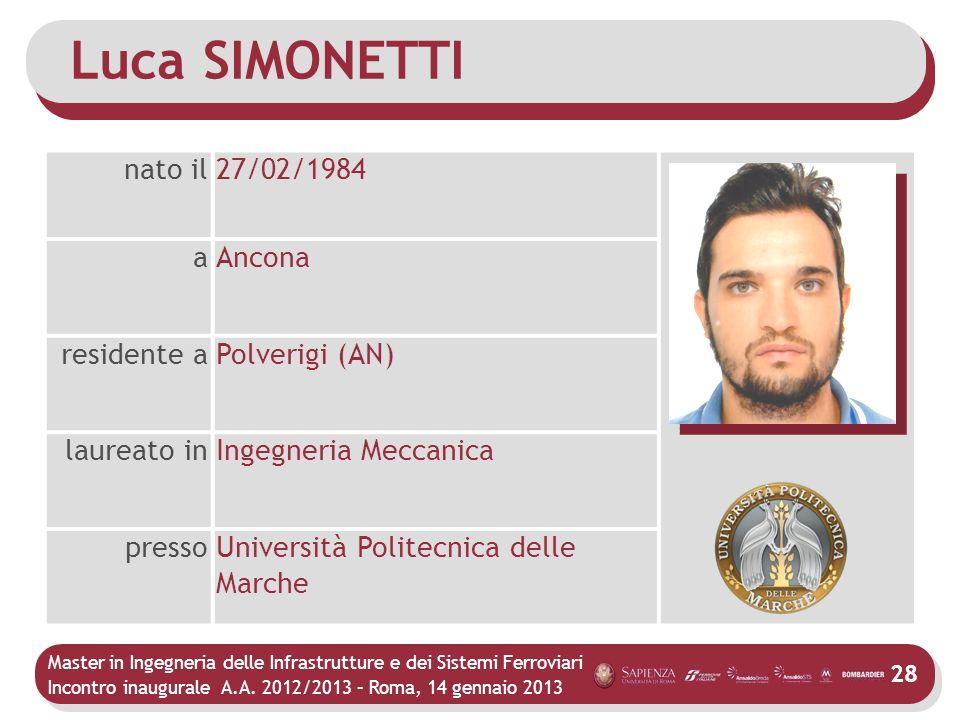 Master in Ingegneria delle Infrastrutture e dei Sistemi Ferroviari Incontro inaugurale A.A. 2012/2013 – Roma, 14 gennaio 2013 28 Luca SIMONETTI nato i