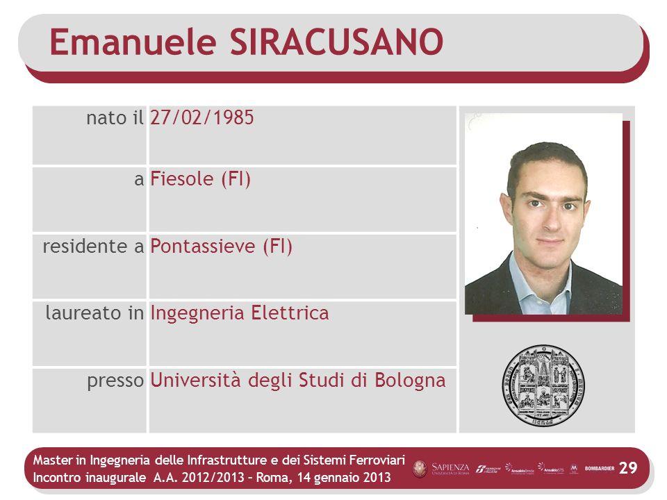 Master in Ingegneria delle Infrastrutture e dei Sistemi Ferroviari Incontro inaugurale A.A. 2012/2013 – Roma, 14 gennaio 2013 29 Emanuele SIRACUSANO n